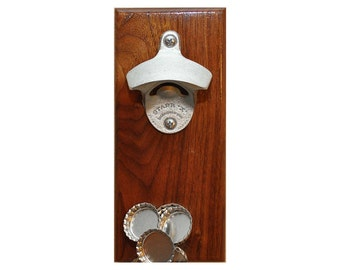 Groomsman Gift, Wedding Gift, Personalized Walnut Wall/Magnetic Mount Beer Bottle Opener - Magnetic Cap Catcher