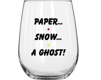 Paper...Snow...A Ghost! - Joey Tribiani - Personalized - Friends TV Show - 1 Glass