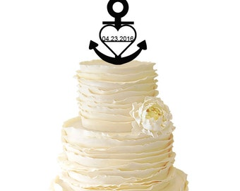 Personalized Nautical Anchor With Heart - Your Custom Date Acrylic or Baltic Birch Wedding/Special Event Cake Topper - 002