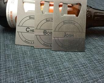 Set of 3 Laser Engraved Credit Card Size Stainless Steel Bottle Openers - 10 Designs - Groomsman Gift - Wedding Favor - Gift For Dad Or Grad