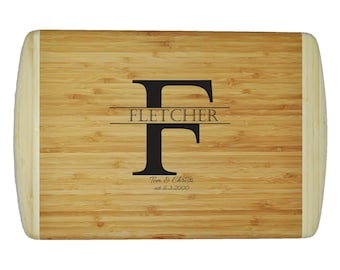 "Personalized Two-Tone Bamboo Cutting Board - Wedding - Anniversary - Special Occasion  - 18""x12"" - 3/4"" Thick - Eco friendly - Renewable"