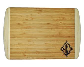 "Personalized Diamond Monogram Designs - Two-Tone Bamboo Cutting Board - 18""x12"" - 3/4"" Thick - Eco friendly - Renewable - 042"