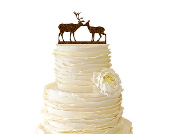 Glitter Kissing Deer - Buck And Doe -  Acrylic Wedding/Special Event Cake Topper - 018