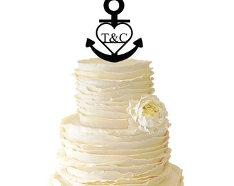 Personalized Monogram Nautical Anchor With Heart With Your Custom Initials Acrylic or Baltic Birch Wedding/Special Event Cake Topper - 003