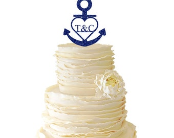 Glitter Monogram Nautical Anchor With Heart With Your Custom Initials Acrylic Wedding/Special Event Cake Topper - 003