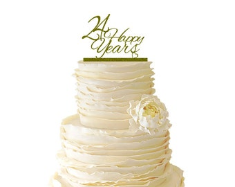 Glitter 24 Happy Years Wedding Anniversary - 24 Years -  Acrylic Wedding/Special Event Cake Topper - 056