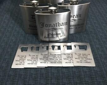 6 Sets Of Laser Engraved Stainless Steel Flask & Bottle Opener  - 10 Designs - 20 Fonts - Groomsman / Bridesmade Gift - Wedding Favor