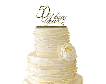 Glitter 50 Happy Years Wedding Anniversary - 50 Years -  Acrylic Wedding/Special Event Cake Topper - 013