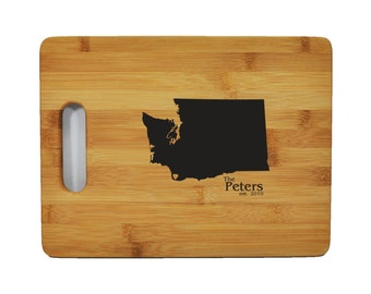 "Personalized State Bamboo Cutting Board - Wedding - Anniversary - Special Occasion - 9""x6"" -1/2"" Thick - Eco friendly"