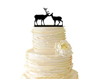 Kissing Deer - Buck And Doe -  Acrylic or Baltic Birch Wedding/Special Event Cake Topper - 018