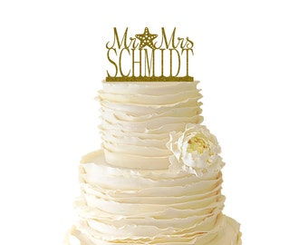 Glitter Mr. And Mrs. With Starfish And Personalized With Your Name Acrylic Wedding/Special Event Cake Topper - 026