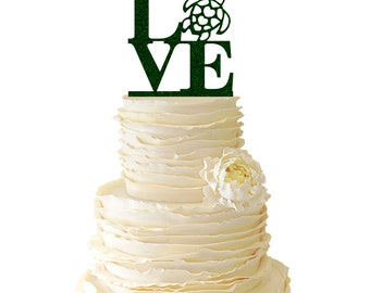 Glitter Love - Sea Turtle - Philadelphia - Acrylic Wedding/Special Event Cake Topper - 050