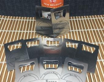 Set of 9 Laser Engraved Credit Card Size Stainless Steel Bottle Openers - 10 Designs - Groomsman Gift - Wedding Favor - Gift For Dad Or Grad