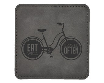 Eat Well Travel Often Bike - Choice of Coaster Color and Shape - 062