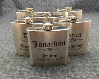 Set of 6 Laser Engraved Stainless Steel Flask - 10 Designs - 20 Fonts - Groomsman Gift - Bridesmaid Gift - Wedding Favor -  Dad or Grad Gift