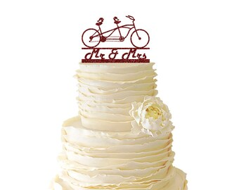 Glitter Love Birds On Tandem Bike With Mr & Mrs - Acrylic Wedding/Special Event Cake Topper - 017