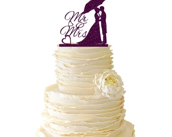 Glitter Couple Standing Under An Umbrella Acrylic Wedding/Special Event Cake Topper - 027