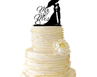 Couple Standing Under An Umbrella Acrylic or Baltic Birch Wedding/Special Event Cake Topper - 027
