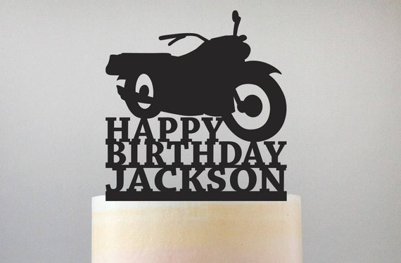Happy Birthday Motorcycle Cake Topper With Name Standard
