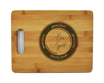 "Custom Bamboo Cutting Board - Popular Food Quotes - Bob Appetite - 11.5""x8.75"" - 9/16"" Thick - 011"
