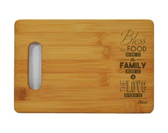 "Custom Bamboo Cutting Board - Popular Food Quotes - God Bless the Food - 6""x9"" - 1/2"" Thick"