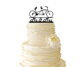 Love Birds On Tandem Bike With Mr & Mrs - Acrylic or Baltic Birch Wedding/Special Event Cake Topper - 017