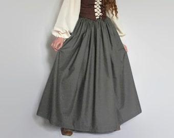 adf85ce88 Renaissance skirt, custom size extra full skirt, slate gray medieval skirt