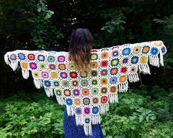 Crochet Shawl Colorful Shawl Granny Square Flower