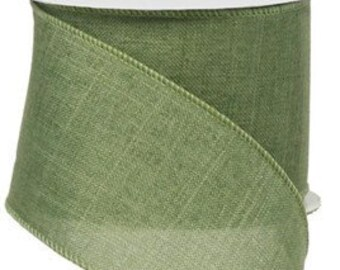 Clover Green Royal Burlap Wired Ribbon, Wired Ribbon, 2.5 X 10 Yard Ribbon, Ribbon For Wreaths, Wreath Supplies, Green Ribbon, Ribbon, Green