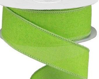 Lime Green Wired Ribbon Royal Burlap, Wired Ribbon, 1.5 X 10 Yard Ribbon, Ribbon For Wreaths, Wreath Supplies, Green Ribbon, Ribbon, Bows