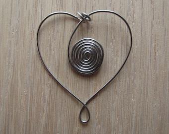 Stainless Steel Heart Spiral Bookmark
