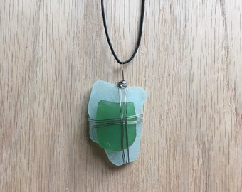 Blue Green Sea Glass Necklace