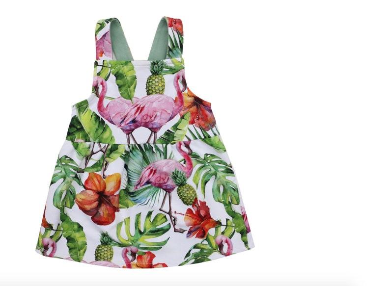 93e17071e0e Girls flamingo Pinafore Girls Bib Skirt Baby Pinafore
