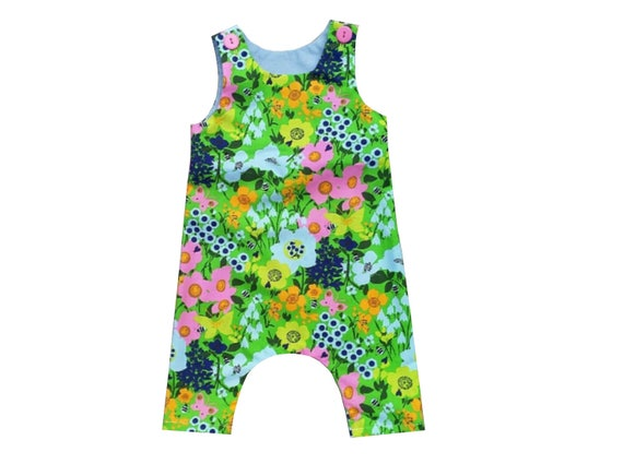 2ac3b6939df6 Baby Harem Romper Retro Bees and Butterflies Toddlers