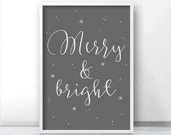 Christmas Print Merry And Bright, Printable Christmas Decor, Instant Download Christmas Art, Holiday Print Download, Grey Christmas Wall Art