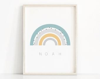 Printable Rainbow Wall Art, Name Nursery Print, Instant Download Art, Rainbow Kids Print, Printable Nursery Art, Rainbow Baby Shower Gift
