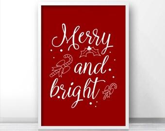 Digital Download Christmas Print, Merry And Bright Printable Christmas Art, Holiday Print Instant Download, Christmas Decor, Digital Print