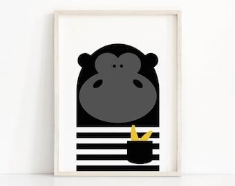 Animal Nursery Print, Gorilla Kids Print, Instant Download Kids Art, Monkey Nursery Decor, Modern Kids Wall Art, Printable Nursery Wall Art