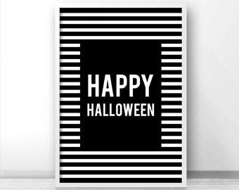 Happy Halloween Print, Halloween Printables, Fall Printable Art, Instant Download Printable Halloween Decor, Digital Halloween Wall Art