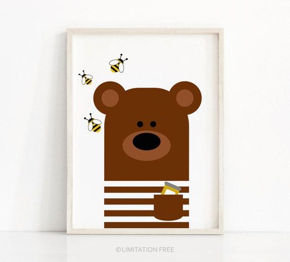 wall art Nursery art kids wall art Bear Nursery Art kidsroom art kids art bear print. Baby Bear nursery decor