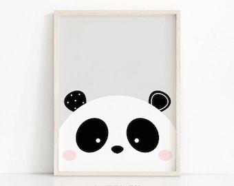 Panda Print, Nursery Art Printable, Instant Download Nursery Print, Kids Art, Baby Animal Print, Digital Download Art, Panda Nursery Decor