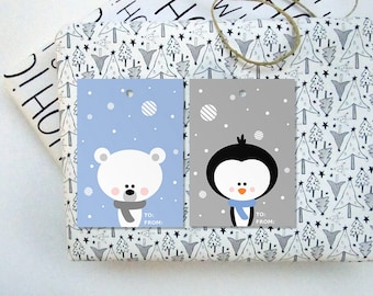 Printable Christmas Tags, Instant Download Christmas Gift Tags, DIY Christmas Printables, Penguin And Polar Bear Printable Gift Tags