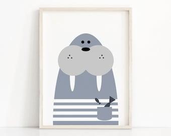 Walrus Nursery Print, Digital Download, Animal Nursery Wall Art, Kids Prints, Blue Nursery Decor, Kids Wall Art, Instant Download Printable
