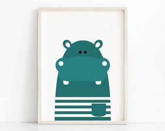 Hippo Nursery Art, Animal Nursery Print, Instant Download, Kids Print, Animal Print, Printable Nursery Wall Art, Kids Art, Download Print