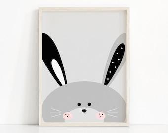 Bunny Nursery Print, Kids Wall Art, Printable Nursery Art, Girls Bedroom Decor, Animal Print For Nursery, Rabbit Wall Art For Girl Room