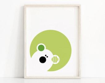 Nursery Wall Art Printable, Kids Art, Baby Animal Art, Bear Nursery Print, Modern Nursery Decor, Bear Print, Digital Nursery Art, Kids Print