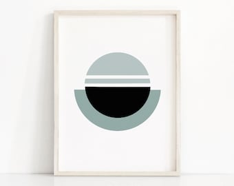 Abstract Wall Art, Geometric Print,  Digital Download Art, Modern Wall Art Print,  Abstract Print, Teal Blue And Black Home Decor Wall Print