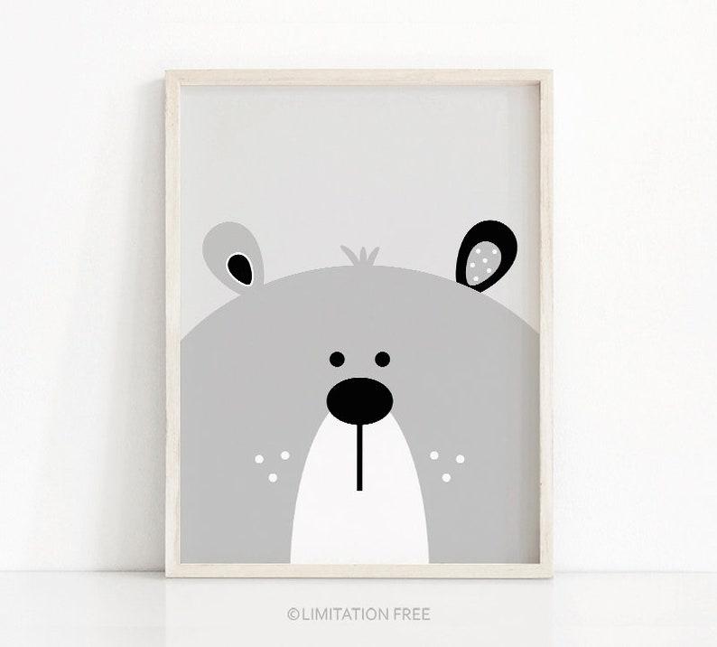a4ddb4f0410c5 Bear Print, Digital Download Nursery Print, Bear Nursery Art, Printable  Kids Art, Kids Print, Grey Nursery Decor, Baby Animal Print Download