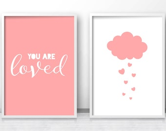 Pink Nursery Wall Art Print, Cloud Decor, Baby Girl Nursery Art Print,  Set Of 2 Baby Art Prints, Digital Nursery Quote, You Are Loved Print