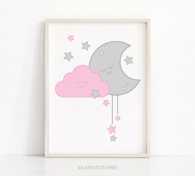 Pink And Gray Girl Nursery Print Baby Girl Nursery Wall Art | Etsy